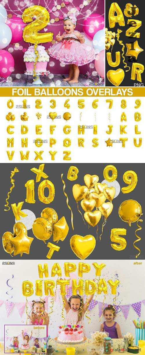 45 Foil Number Balloons Alphabet Photoshop Overlays, Gold - 524278