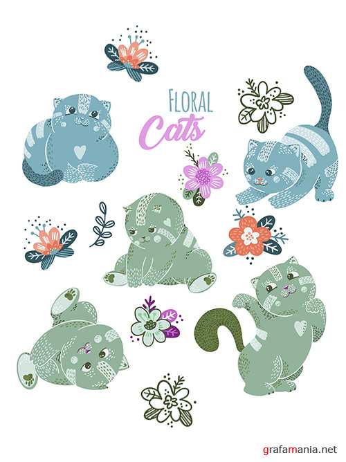 Cute and funny kittens with flowers drawn illustrations