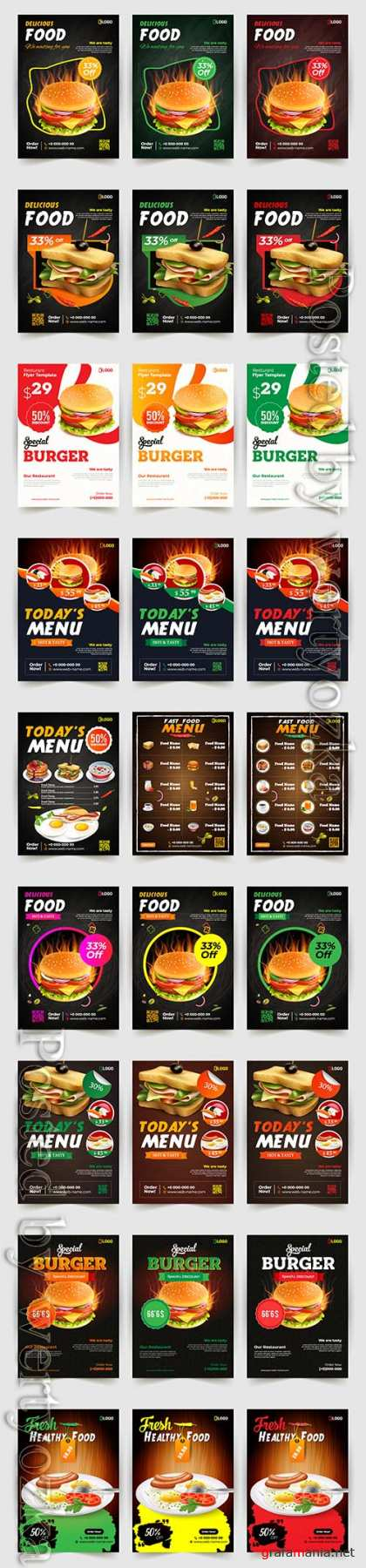 Fast food flyer design vector template, brochure flat design