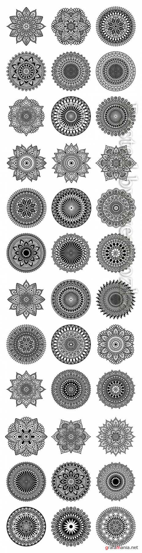 Set of mandala shape on white background, vector illustration