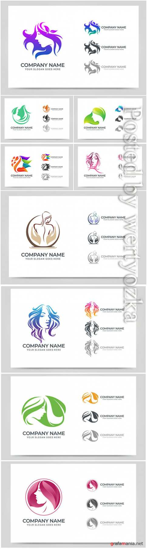 Beauty woman face logo vector symbol