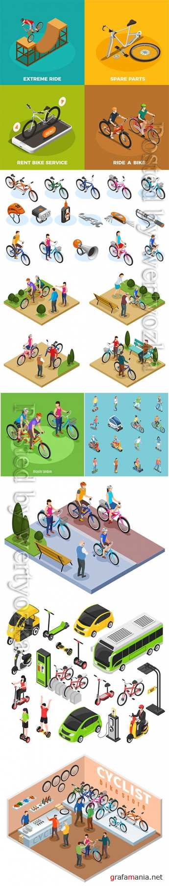 Bike store isometric composition vector illustration