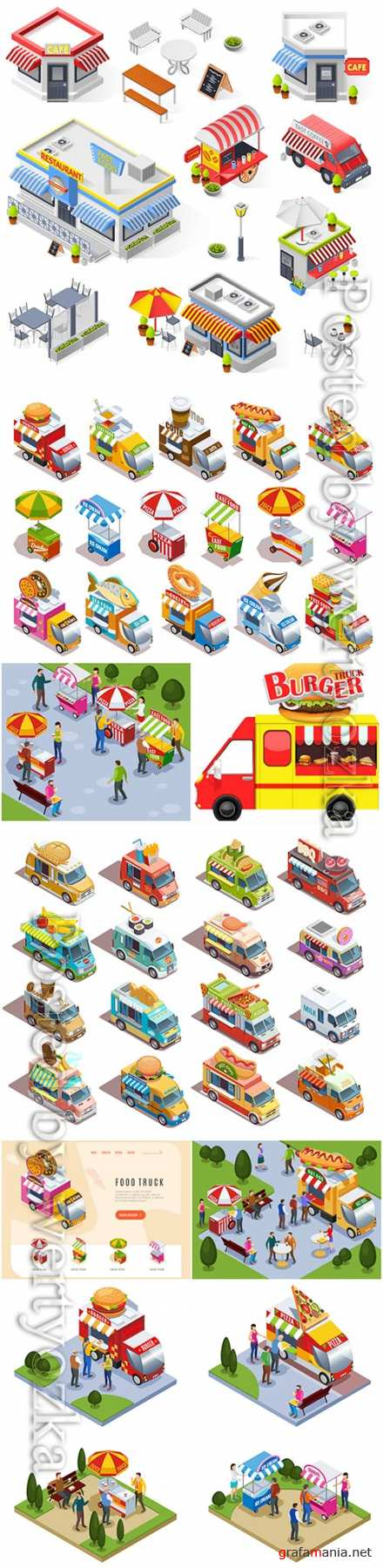 Food trucks and street carts vending fast food drinks and ice cream isometric icons set