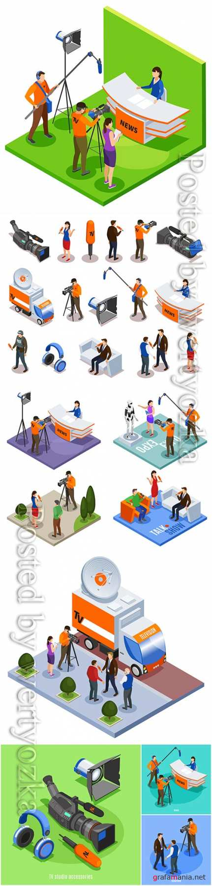 Concept set of talk show news expo and street interview isometric compositions vector