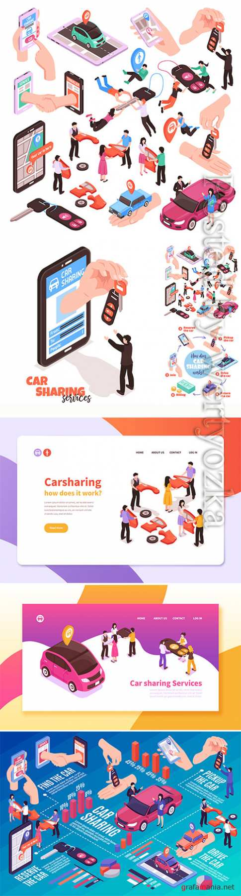 Isometric set of car sharing service elements vector illustration