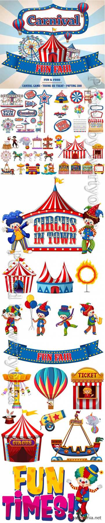 Set of circus items vector illustration