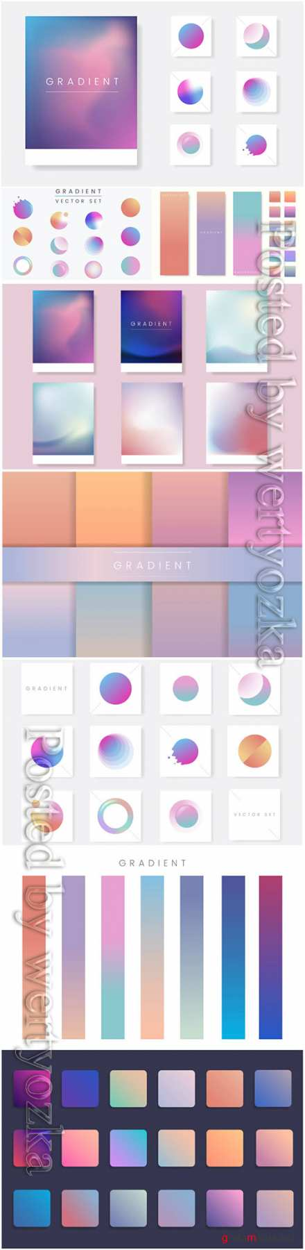 Colorful gradient badge vector set