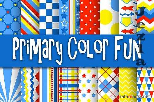 Primary Color Fun Digital Papers  - 37288