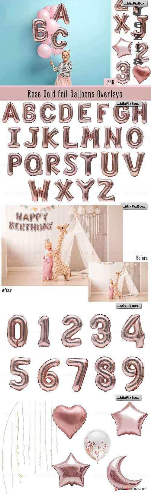 Rose Gold Foil Balloons Overlays - 4978844