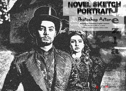 CreativeMarket - Novel Sketch Portrait PS Action 5674328
