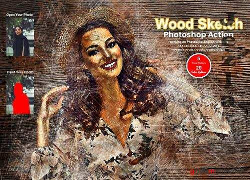 CreativeMarket - Wood Sketch Photoshop Action 5631877