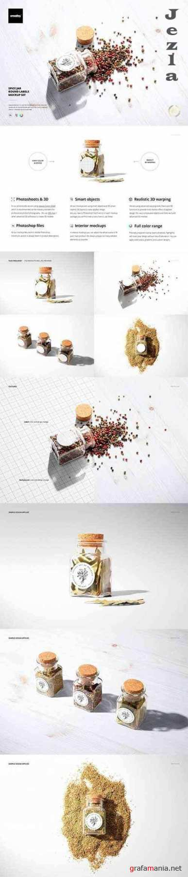 CreativeMarket - Spice Jar Round Labels Mockup Set 5333820