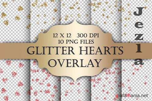 Glitter Hearts Digital Clip Art Overlay - 1170684