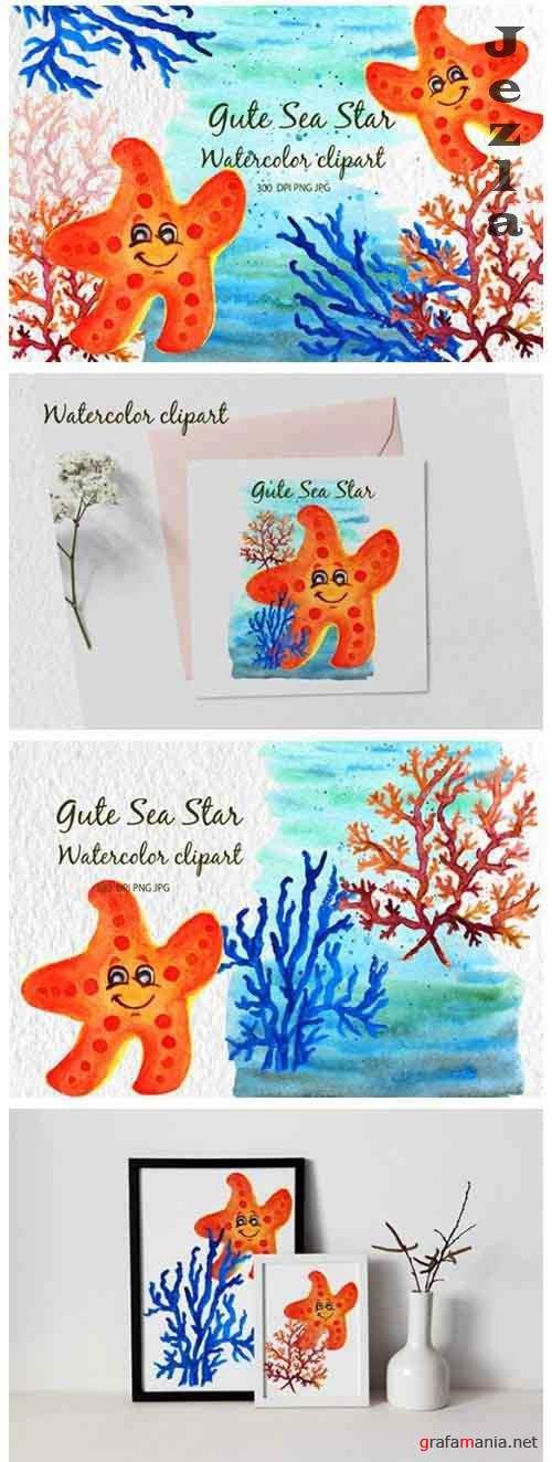 Watercolor starfish Gute starfish Watercolor sea cartoon - 1173378