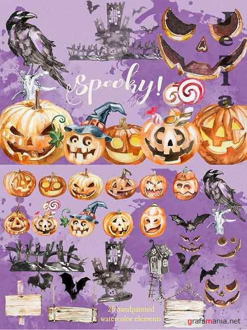 Watercolor Spooky! Halloween - 902723