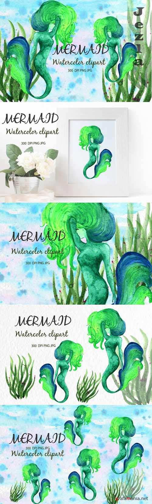 Watercolor clipart Mermaid Gute For Children's Greeting Card - 1180936