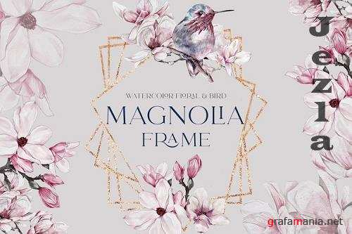 Watercolor Floral Rose Gold Frame Birds Geometric Frame PNG - 1189199