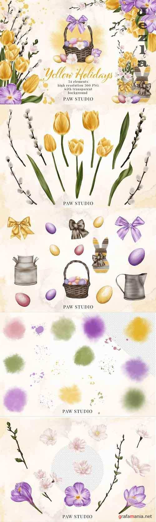 Easter Spring Clipart Yellow Tulips Willow Twigs Basket Eggs - 1187914