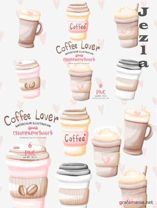 Watercolor Coffee Cup Clipart Bundle