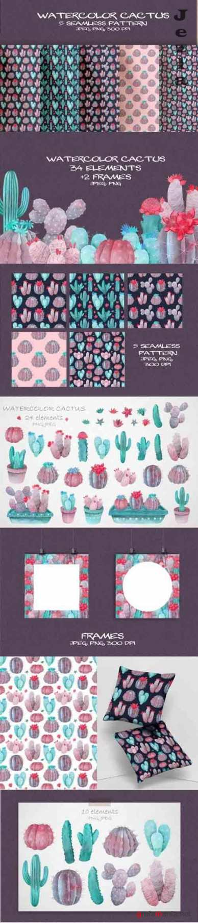 Violet Watercolor Cactus Clipart and Seamless Pattern