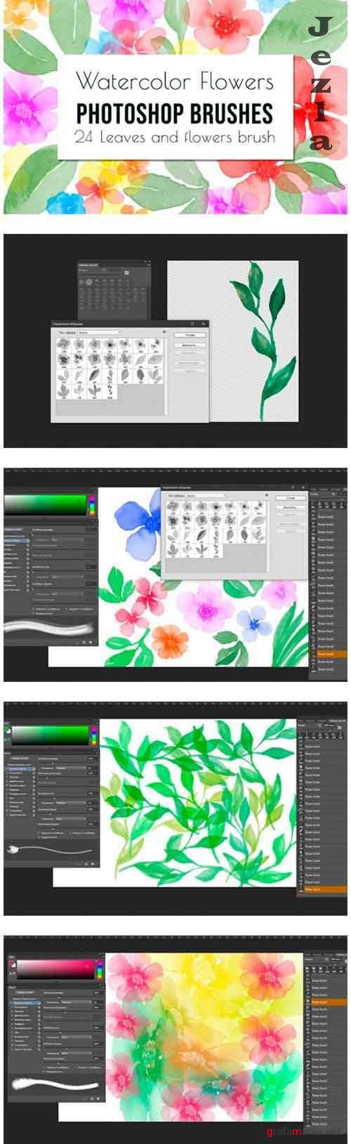 Flowers and leaves Photoshop Brushes - 1202019