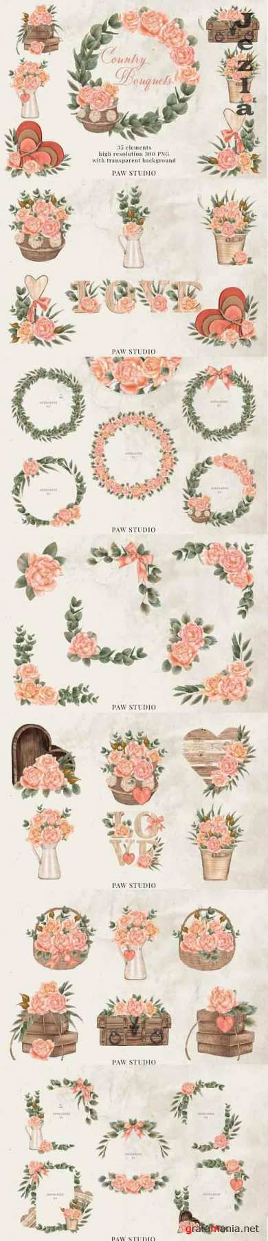 Roses Frames Bouquets Borders Wreaths Bohemian Clipart - 1208363