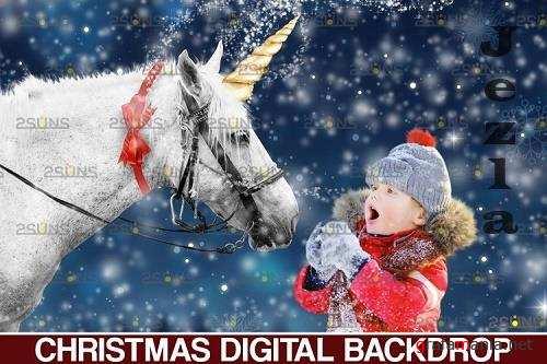 Christmas unicorn backdrop & Christmas overlay - 1132908