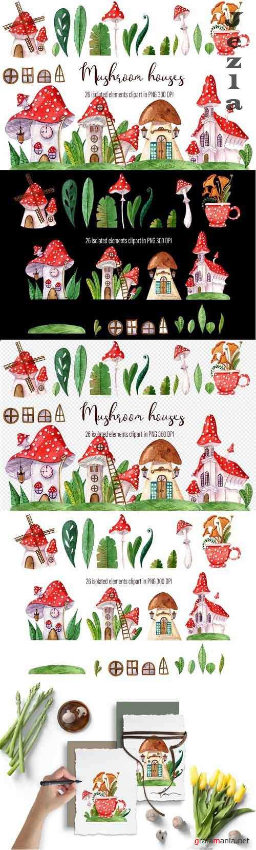 Watercolor hand-drawn set of beautiful Mushroom houses - 1217917