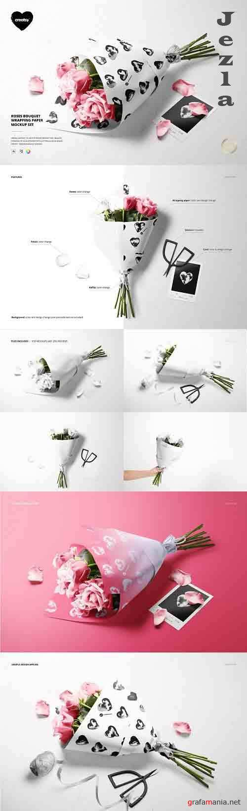 CreativeMarket - Roses Bouquet Wrapping Paper Mockup 5884381