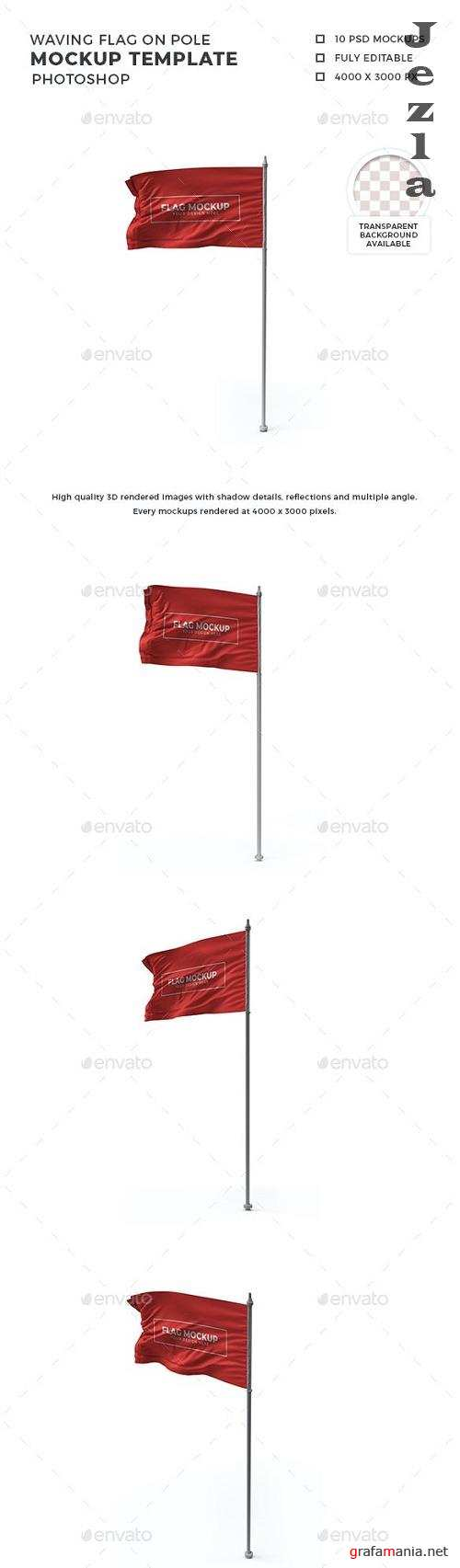 Waving Flag on Pole Mockup Template Set - 30873853