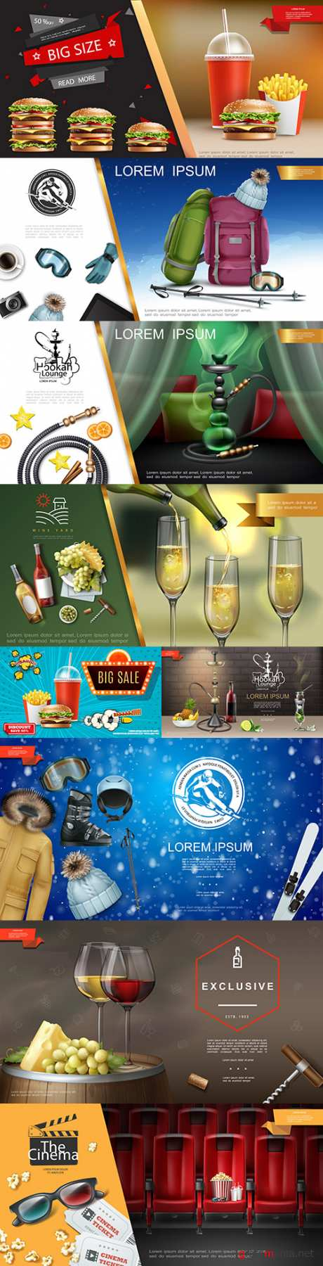 Realistic advertising 3rd template design products and objects