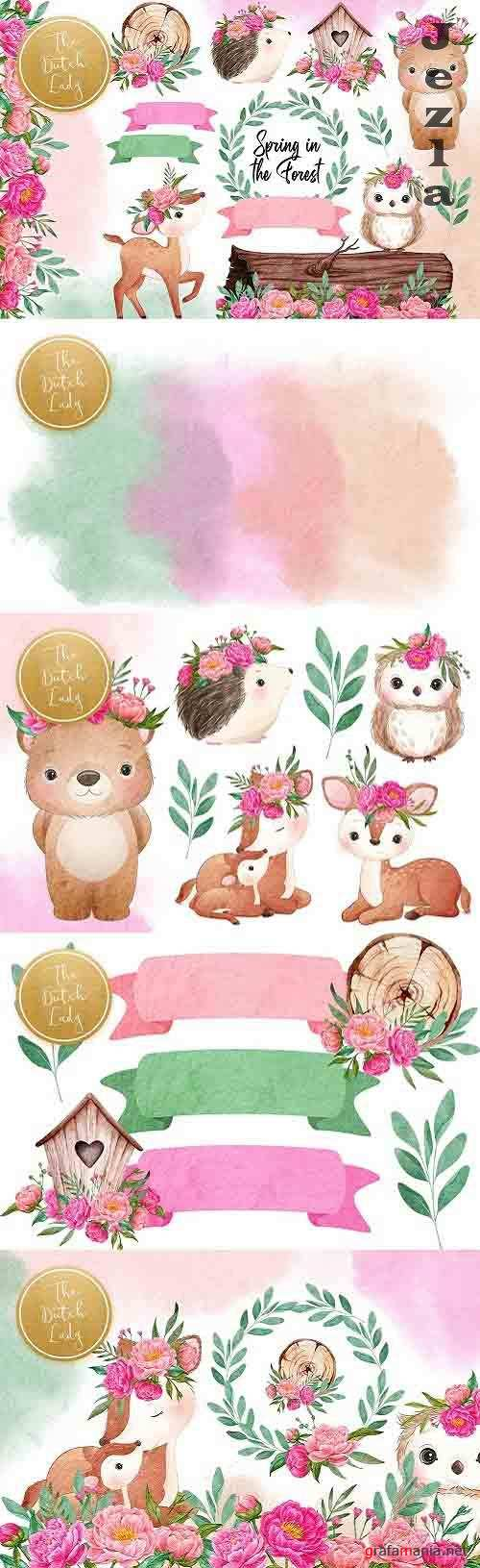 Spring Forest Animal Clipart Set - 5943695