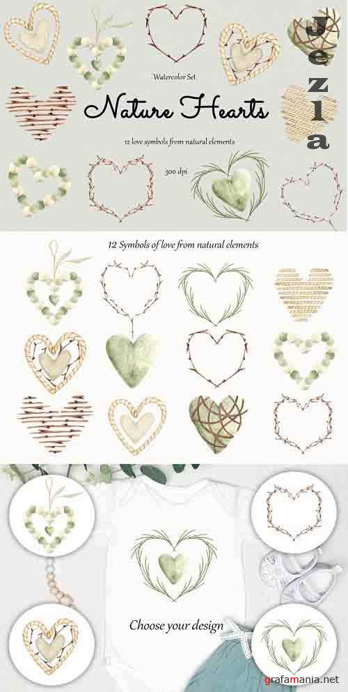 Watercolor Clipart Nature hearts - 1256961