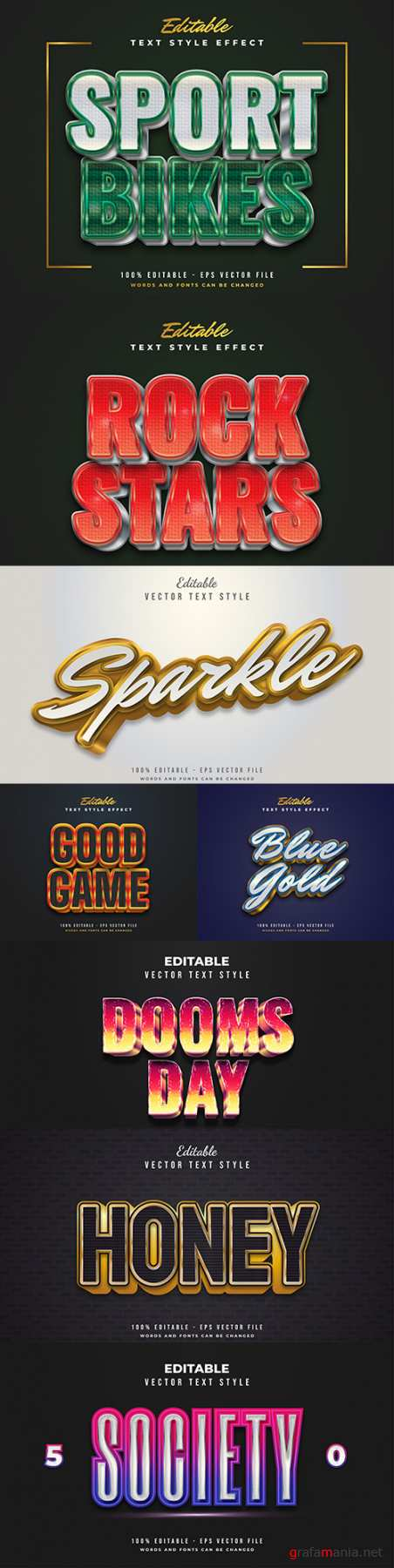 Editable font and 3d effect text design collection illustration 48
