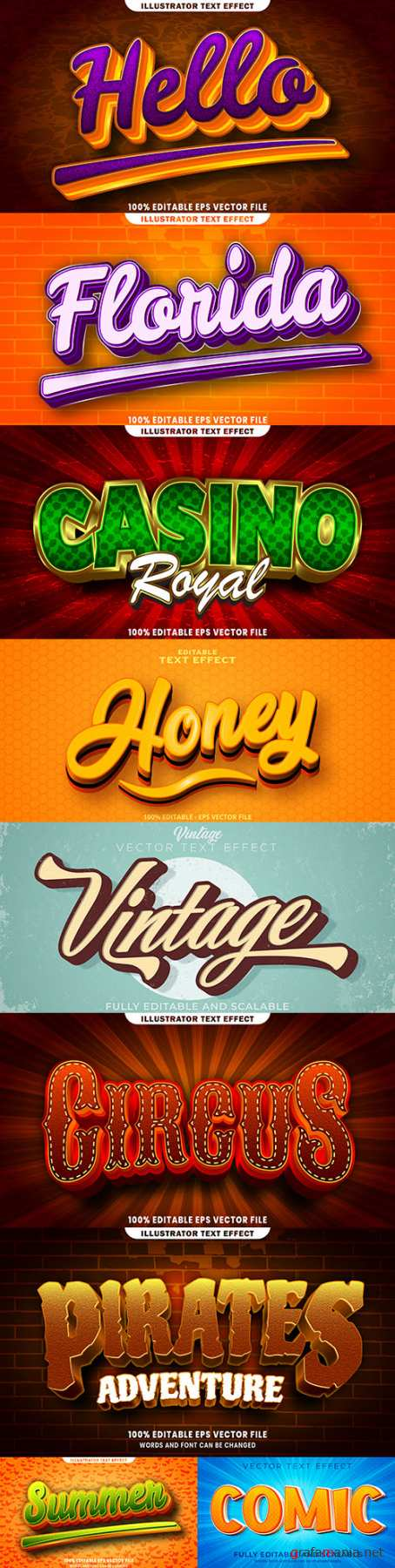 Editable font and 3d effect text design collection illustration 50