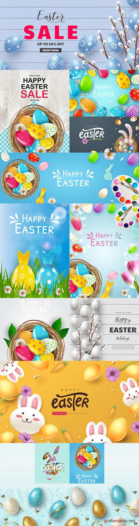 Happy Easter background and design banner with colorful eggs 4