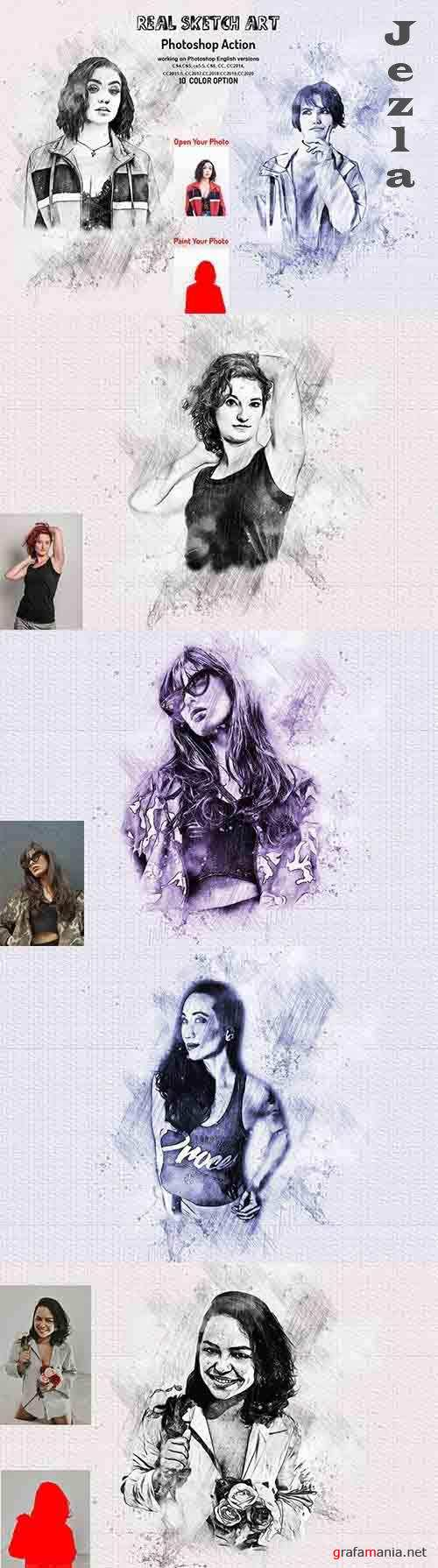 CreativeMarket - Real Sketch Art Photoshop Action 5990338