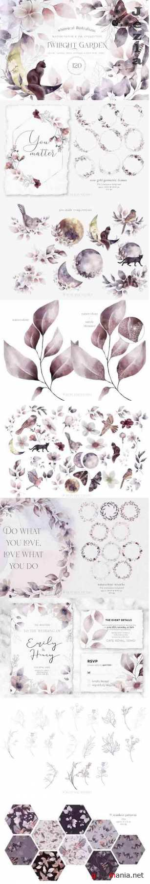 Whimsical Leaves Flowers Birds Moons Watercolor Patterns - 1284729 - Twilight Garden