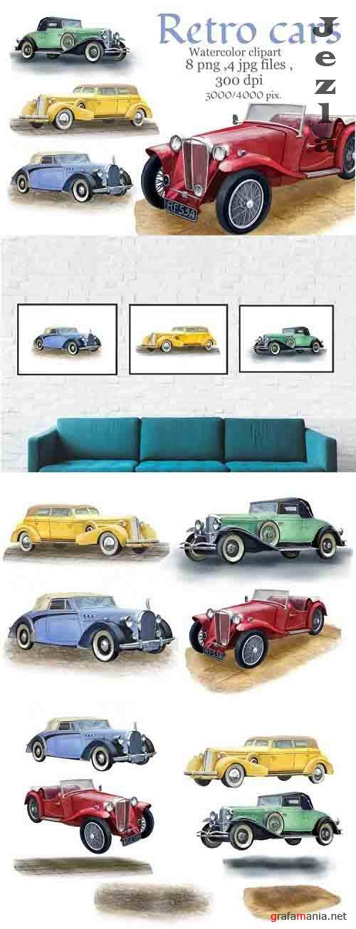 Retro cars watercolor clipart, vintage car .Fathers gift - 1225270