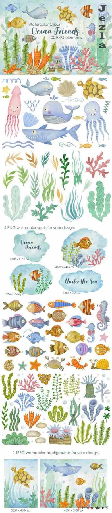 Watercolor Sea Animals Friends collection - 1358662