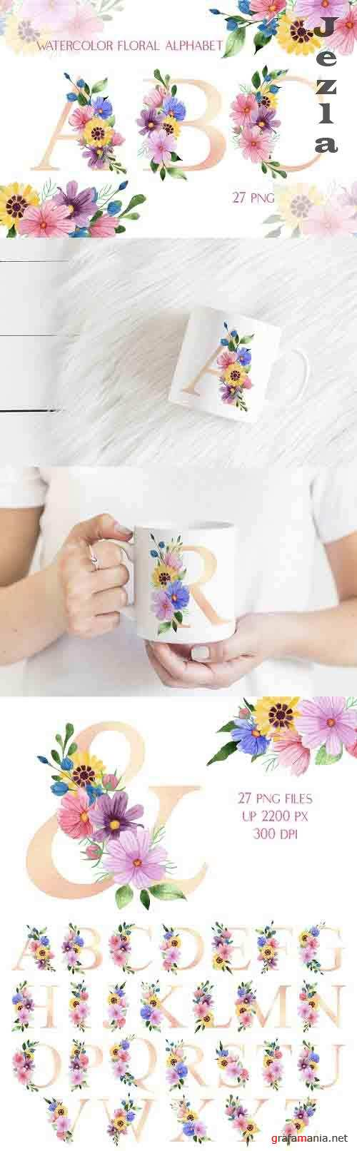 Watercolor Alphabet Meadow Flowers Pearl Pink Letters - 1359277
