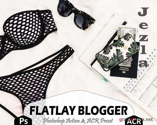 17 Flatlay Blogger Photoshop Actions And ACR Presets, Bright Ps Action