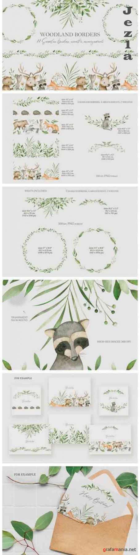 Watercolor woodland borders clipart - 1355931