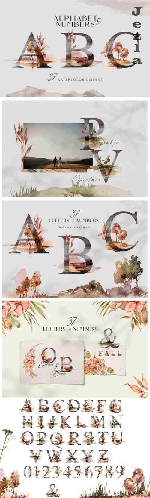 Watercolor Alphabet clipart. Floral letters and numbers - 1349029