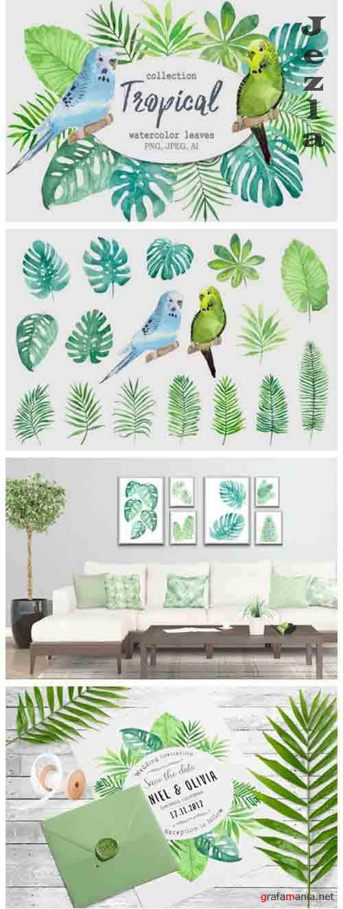 Tropical Leaves and Birds