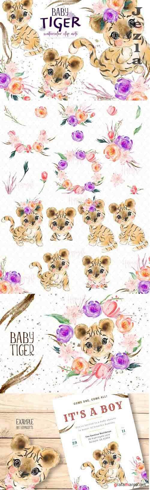 Baby tiger watercolor clip art - 6114179